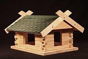 Großes Vogelfutterhaus Bauanleitung Platz 4 grünes Dach