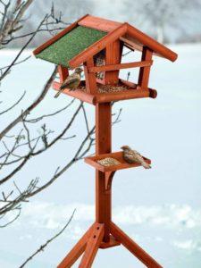 Vogelfutterstation kaufen, BUSDUGA - Vogelhaus/Futterhaus aus Holz mit Futtersilo